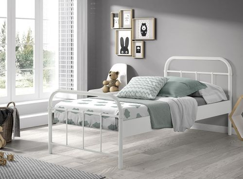 Bed 90x200 cm with Boston white lacquered metal base - Photo n ° 3;  ? data-recalc-dims=