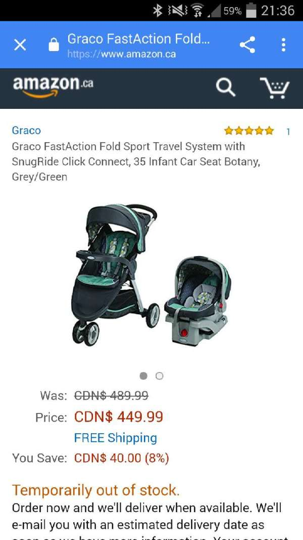 6ace58b5b8bc Graco Fastaction Fold Sport Travel System With Snu For In. Graco Fastaction  Fold Jogger Click Connect ...