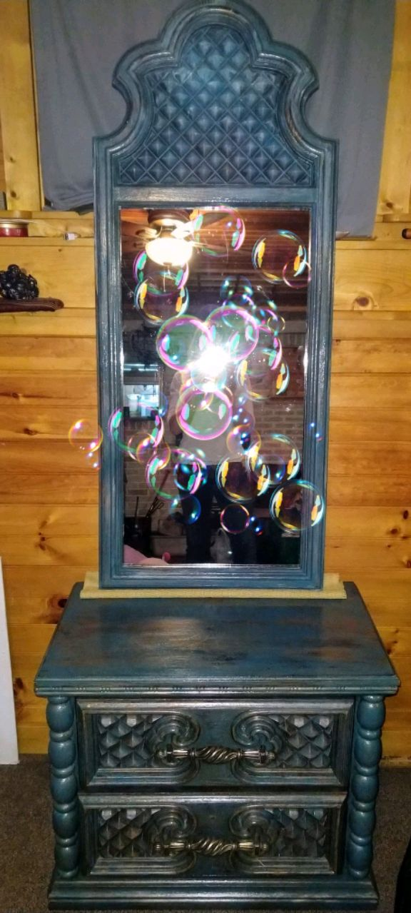 1970 S Faux Wood Art Deco Night Stand Mirror