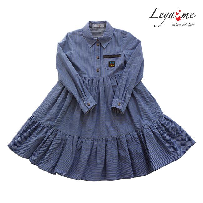 Платье-рубашка детское в полоску с нашивкой на кармане