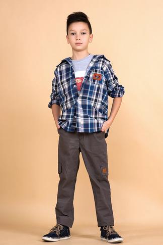Рубашка на мальчика в клетку с капюшоном