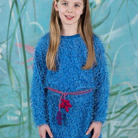 Сине-голубое детское платье-туника с неоновой кулиской
