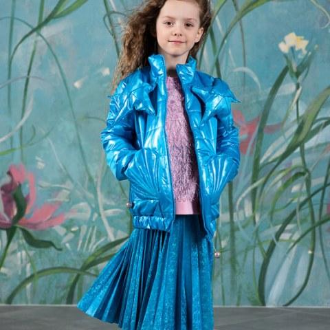 Сине-бирюзовая детская стеганая куртка