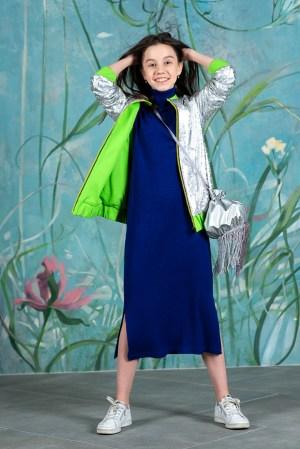 Серебристый детский бомбер для девочки, на неоновой подкладке