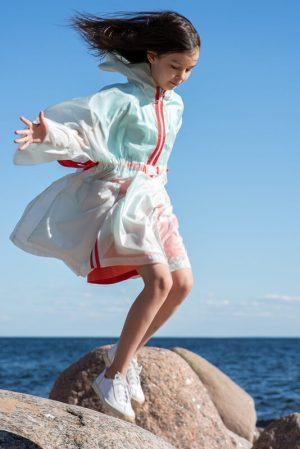 Прозрачный детский дождевик для девочки, бирюзового цвета