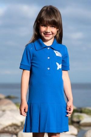 """Детское платье-поло с аппликацией """"Дельфин"""""""