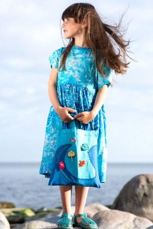 """Трикотажное детское платье-туника для девочки, с принтом """"Море"""""""