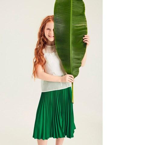 Плиссированная юбка зеленая