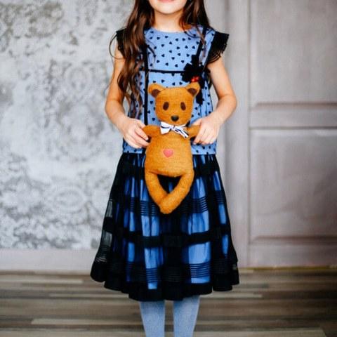 Топ детский из сетки с сердцами на хлопковой основе с брошью из бархатной ленты на девочку