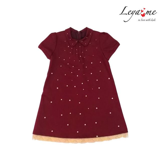 Платье-трапеция детское из красной джинсы