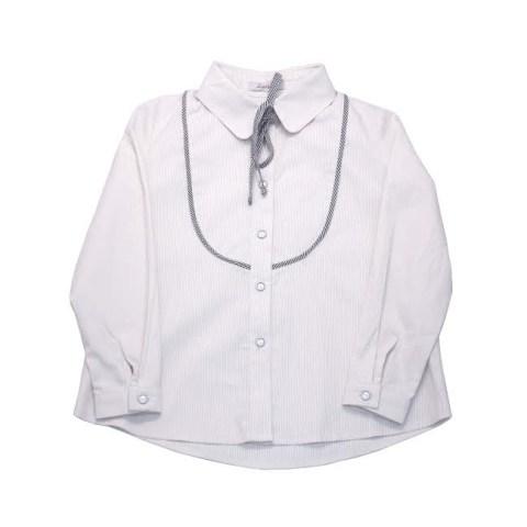 Блузка школьная бежево-белая на девочку с кокеткой и бантом