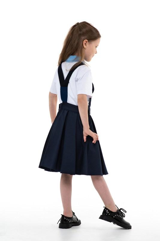 Сарафан школьный синий с пышной юбкой со складками и игрушкой-брелком в кармане