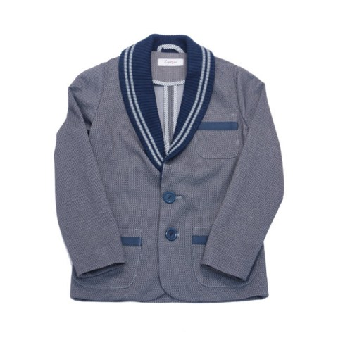 Пиджак школьный на мальчика серый с вязаными вставками