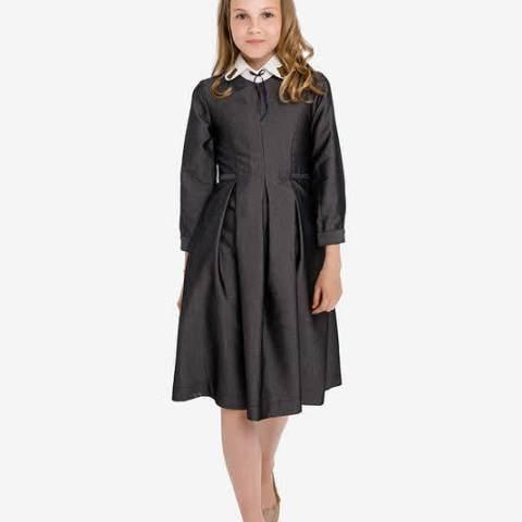 Платье школьное со съемным декорированным воротником серое