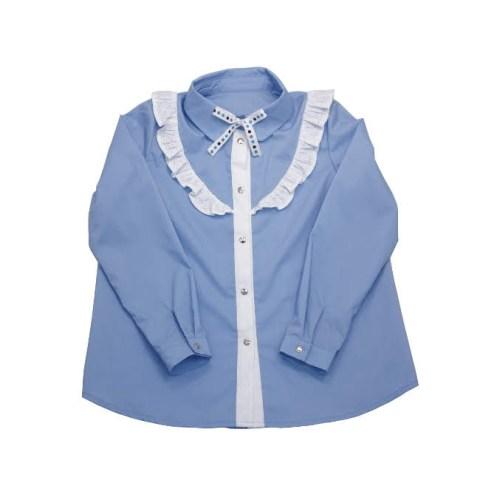 Блузка школьная голубая с белым воланом на девочку