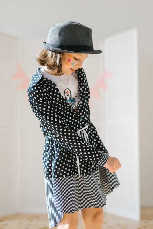 f3d83598319 Рубашка-туника в горошек с полосатыми вставками и кулиской на девочку
