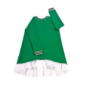 Зеленое платье для девочки, с молнией на спине