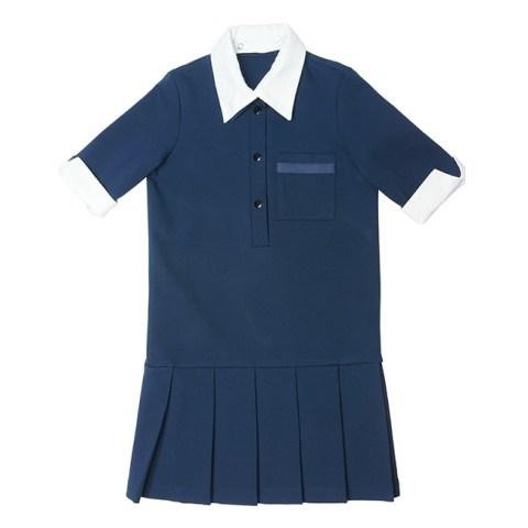 Платье школьное с застежкой поло синее