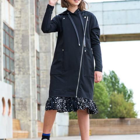 """Платье-косуха черное с капюшоном и оборкой """"Звездное небо"""" на девочку"""
