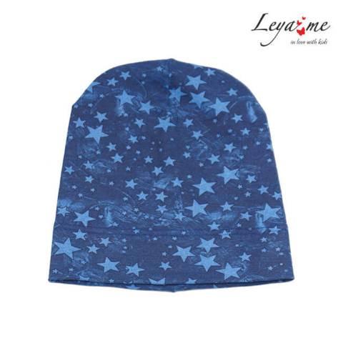 Шапка детская синяя со звездами