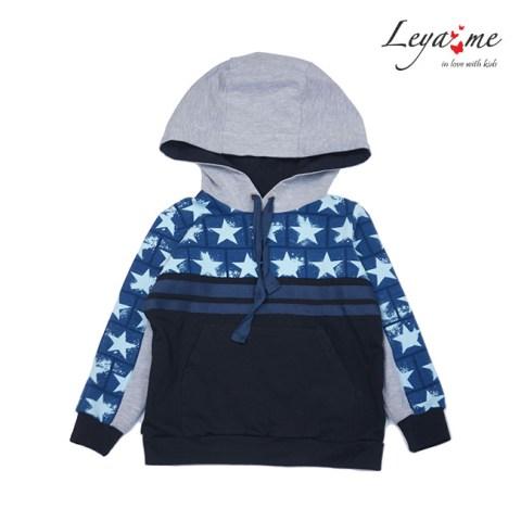 Толстовка детская на мальчика комбинированная серо-черная с синими звездами
