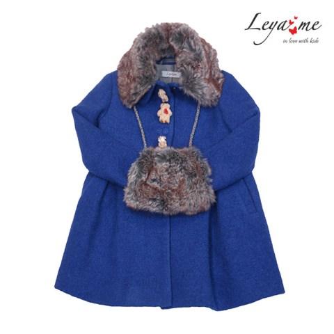 Пальто детское синее с мишками  и меховым воротником на девочку