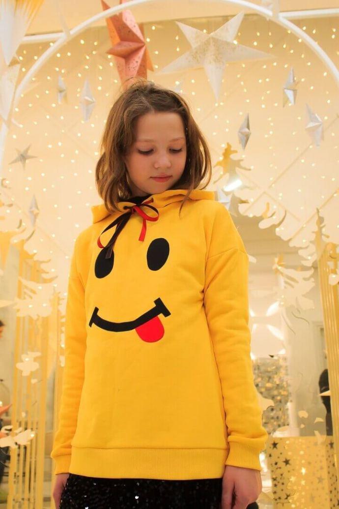 """Свитшот детский желтый """"Smile"""" на девочку"""