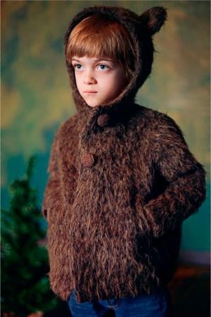 Пушистое пальто-мишка детское