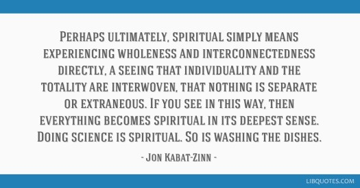 Perhaps ultimately, spiritual simply means experiencing wholeness and  interconnectedness directly, a seeing that individuality and the