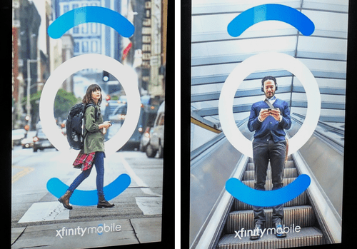 Ads for Comcast's new Xfinity Mobile service based on an MVNO deal with Verizon