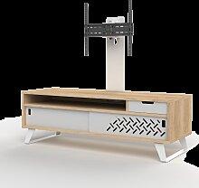 meuble tv bois et blanc design