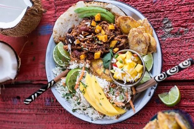 Caribbean Mango Pork and Tropical Rice Plate