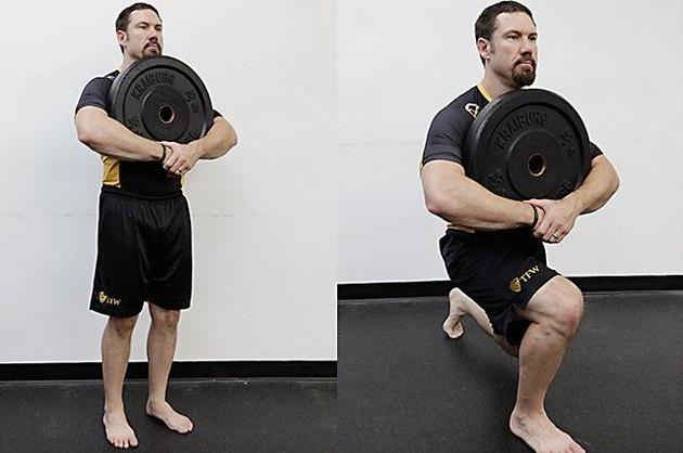 Man performing front lunge walk.