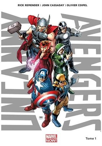 """Couverture """"Uncanny Avengers, tome 1 : Nouvelle union"""" de Rick Rmender, John Cassaday et Oligier Coipel"""