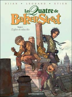 """Couverture """"Les Quatre de Baker Street, tome 1 : L'affaire du rideau bleu"""" de Jean-Blaise Djian, Olivier Legrand et David Etien"""