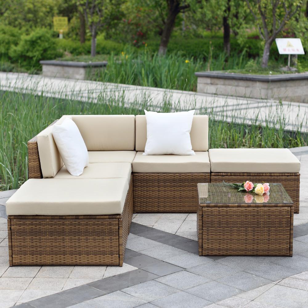 brown iKayaa 6PCS Outdoor Patio Sectional Rattan Wicker ... on Outdoor Loveseat Sets  id=12549