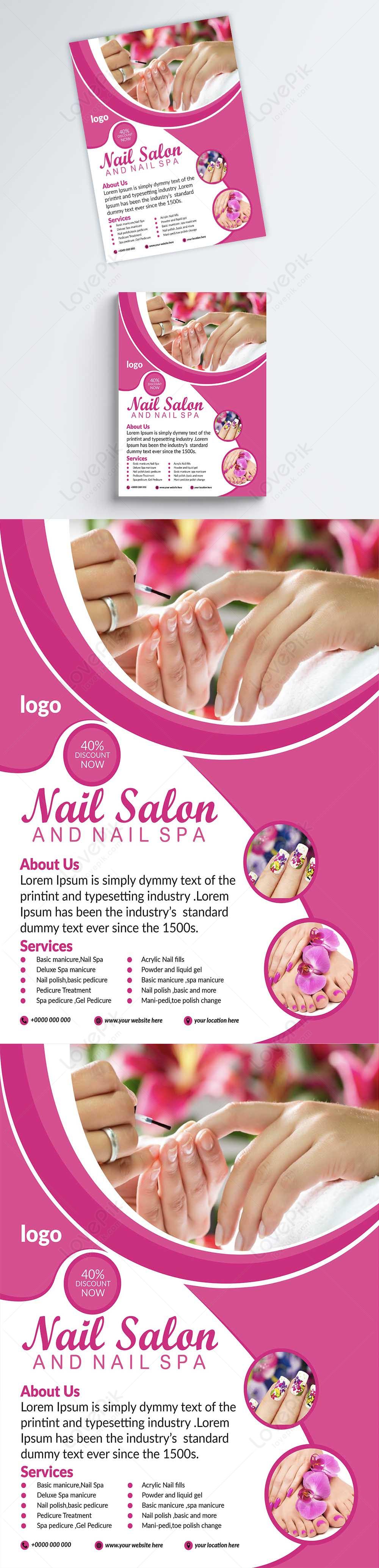 nails salon promotion flyer template