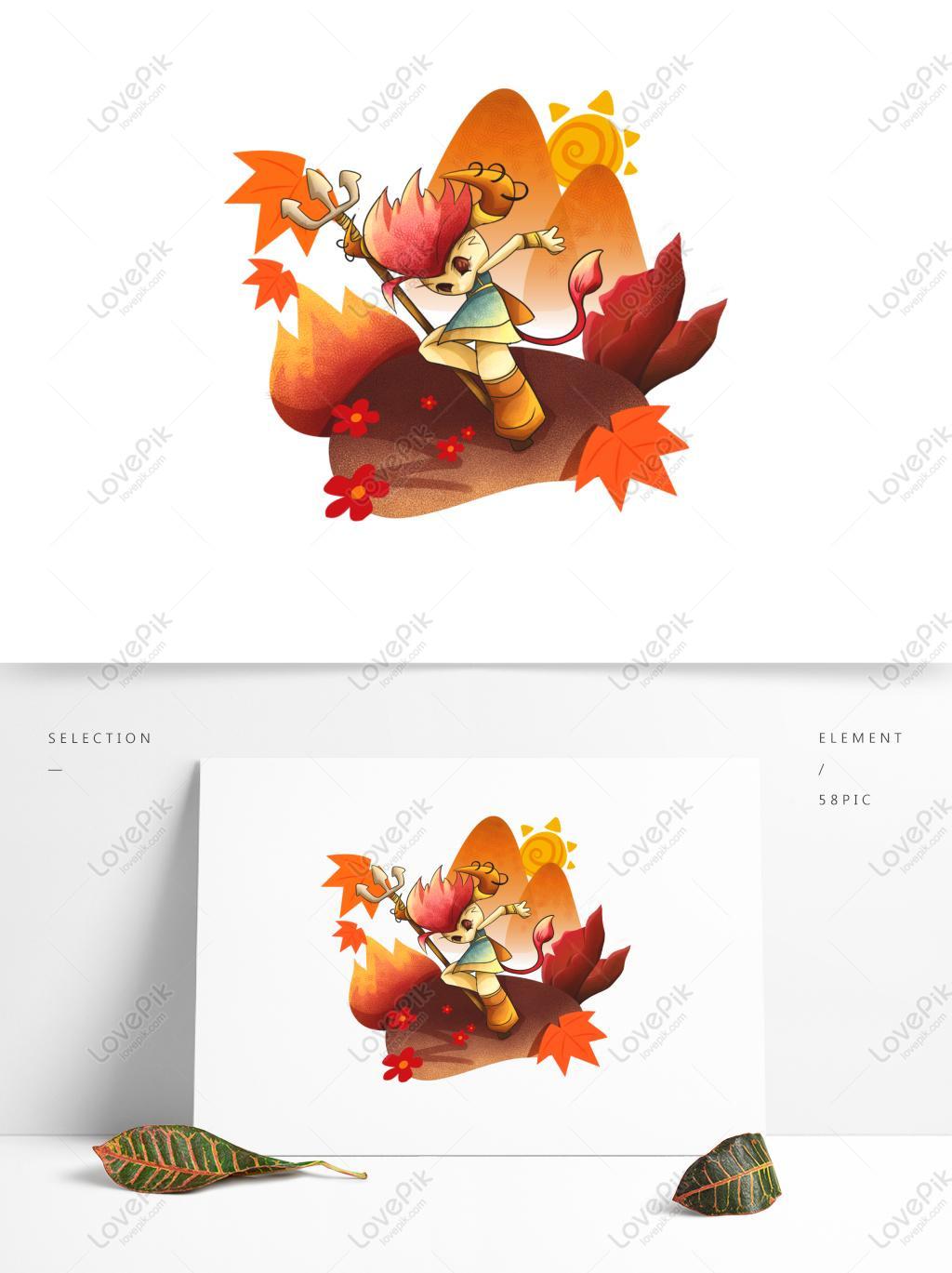 手繪插畫西遊記人物可商用元素牛魔王PSD美工圖案免費下載-素材分辨率1369 × 1024px - Lovepik ID732382091