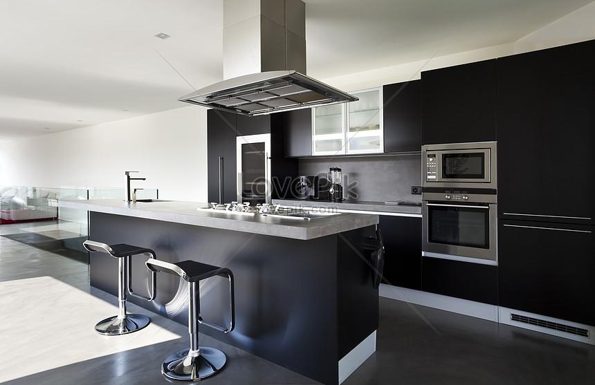 photo de cuisine gris noir et