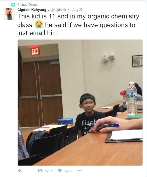 美11歲男童大學旁聽 笑著說:不會可以問我 - 國際 - 自由時報電子報