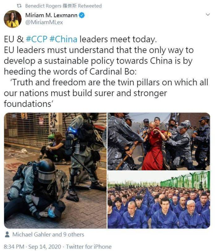 歐洲議會外交事務委員會委員列思曼(Miriam M. Lexmann)籲請歐盟成員國處理對中政策的同時必須審慎評估中國所犯下的種種暴行,包含中共迫害港人、維吾爾人、藏人人權的惡行。(圖擷取自推特_@MiriamMLex)