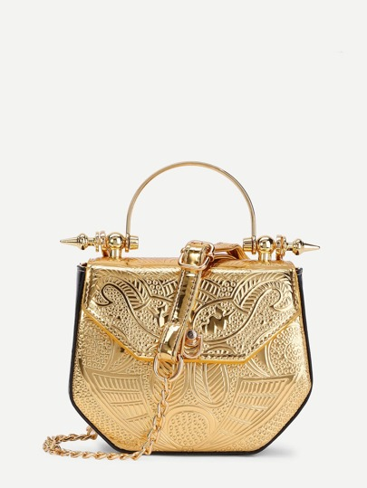 Metallic PU Chain Crossbody Bag