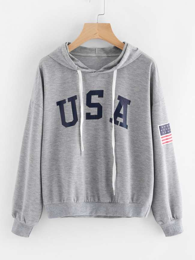 sudadera print texto gris usa capucha jersey