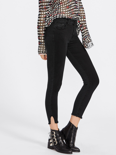 Cut Out Raw Hem Skinny Jeans