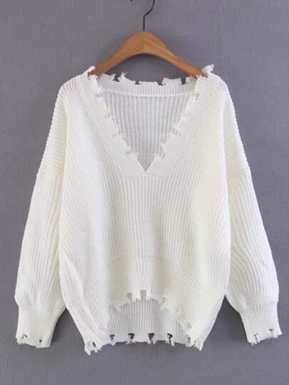 V Neckline Dip Hem Ripped Sweater