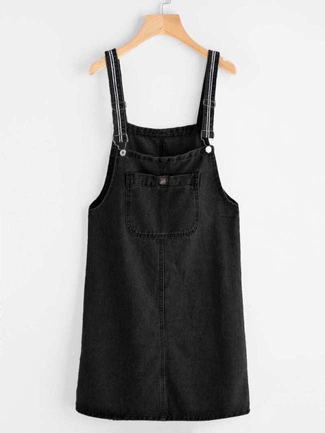 peto negro vestido corto pichi