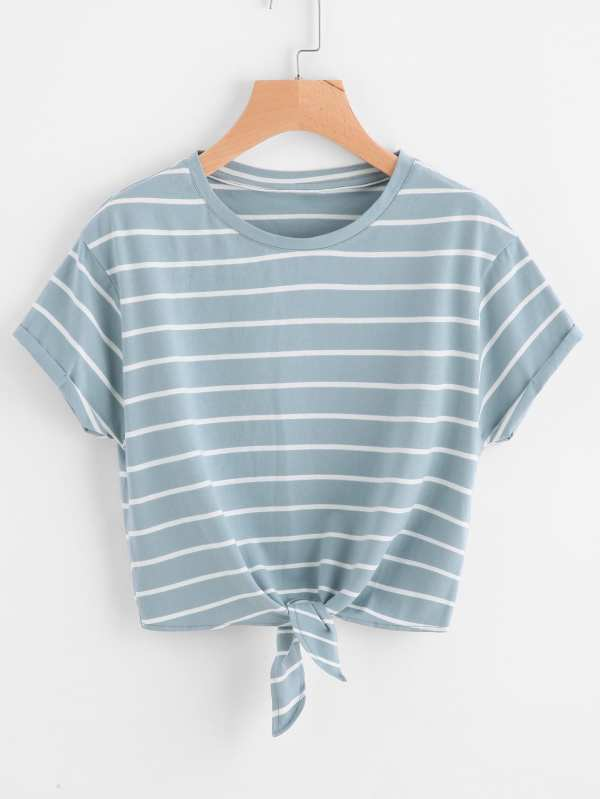 Knot Front Cuffed Sleeve Striped Tee -SheIn(Sheinside)