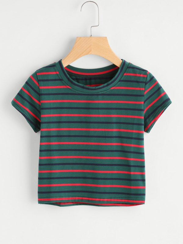 Contrast Striped TeeFor Women-romwe