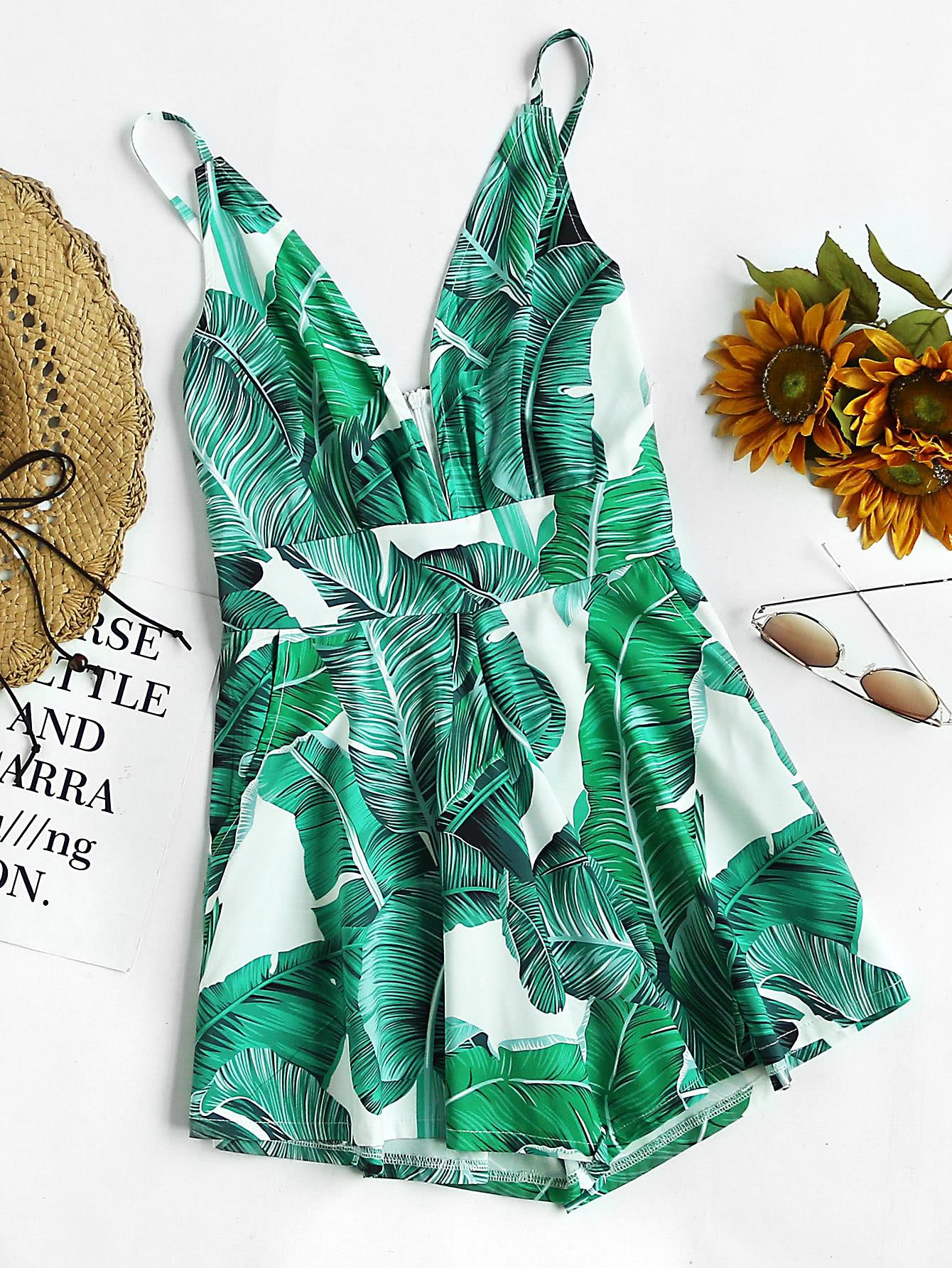 Palm Leaf Print Plunging Zipper Back Cami Romper