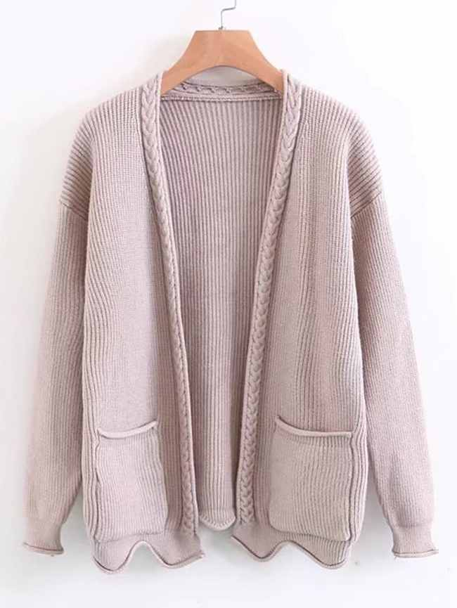 SheIn Open Front Cable Knit Sweater Coat